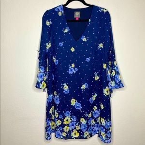 Vince Camuto Floral Bell Sleeve Shift Dress
